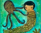 THE OCTOPUS' GARDEN - Signed Collage Art Giclee by DANITA (8x8 INCHES PRINT)