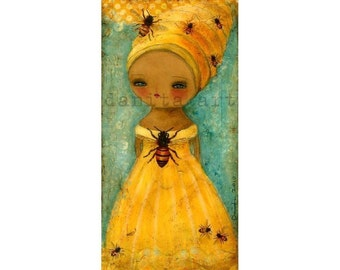 QUEEN BEE - Giclee Reproduction Of Original Collage Painting By Danita Art (Paper Prints and ACEO Wood Mounted)