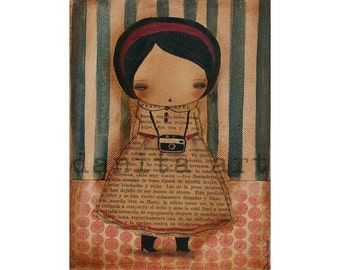 The Photographer - - Giclee Reproduction Of Original Collage Painting By Danita Art (Paper Prints and ACEO Wood Mounted)