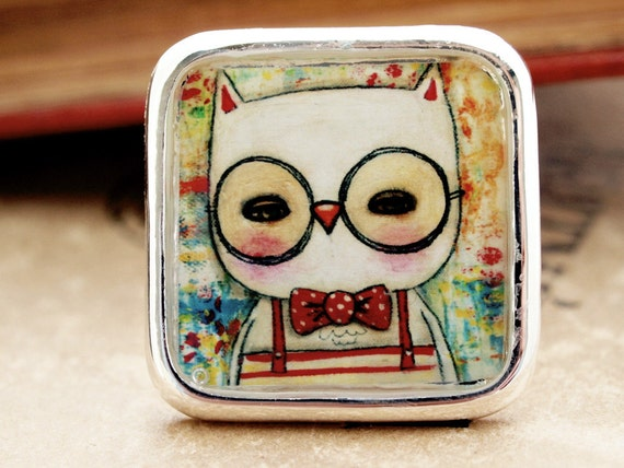 Leonard The Owl - Original Handmade Big Silver Adjustable Square Ring Jewelry by Danita