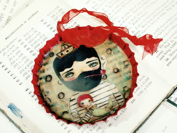 A great catch - Huge Bottle Cap Encaustic Beeswax Collage Valentine's Day Ornament By Danita Art (4 Inches Wide)