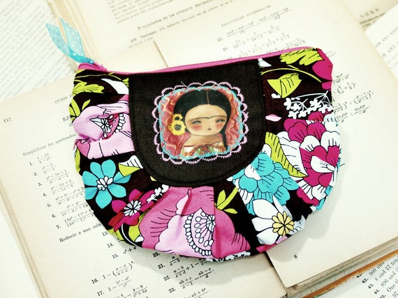 Frida with sunflowers  - Original Handmade Pouch Pencil case with illustration by Danita Art