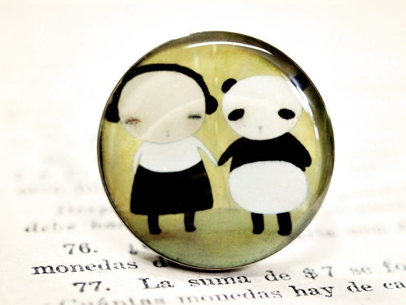 Me And My Panda - Original Handmade Big Brass Adjustable Round Ring Jewelry by Danita