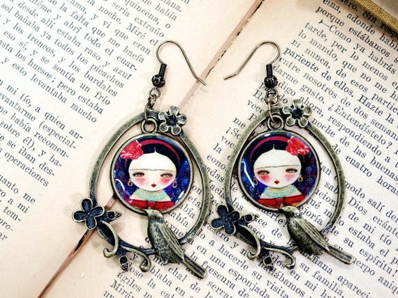 Frida With A Bird In Purple And Red - Unique ox antiqued brass handmade earrings with art illustration by Danita Art