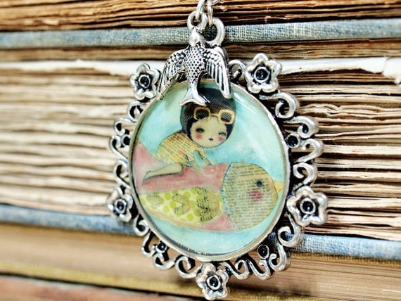 I Dream Of Flying --- Original Antiqued Silver Beaded Necklace Pendant Unique Art Jewelry by Danita