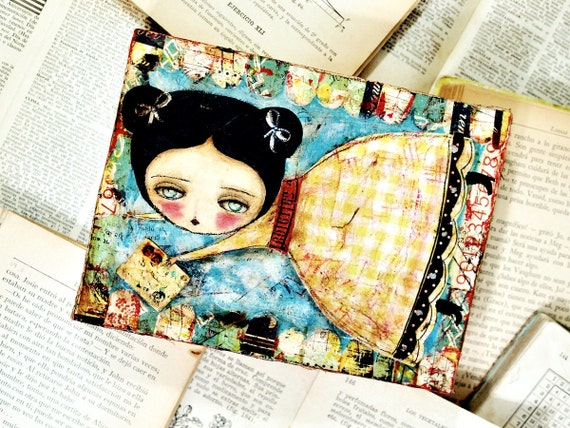 Letter Delivery - Original Mixed Media Collage Painting By Danita (6x8 Inches On Wood Panel)