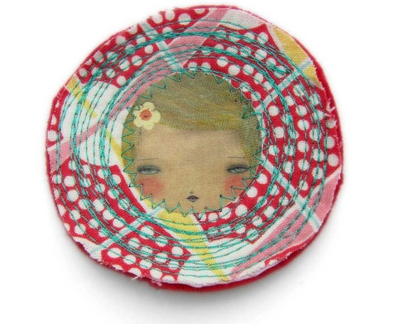 WHITE DOTS AND YELLOW LINES - Round Handmade Original Brooch With Pinback by Danita