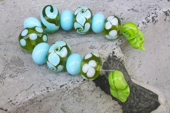 Carribean Dream - Handmade Lampwork Beads by Sun Daisy Glass