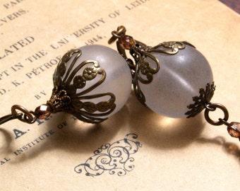Art Deco Lantern Earrings in Frosted