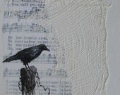 Raven Moon Song of Loving Kindness Original Mixed Media, Cottage Chic Decor