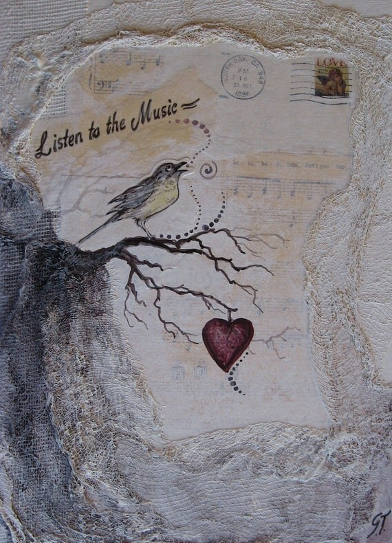 Mixed Media Original Painting by Griselda Tello ...Listen to the music of my heart...
