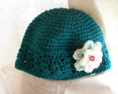 Sale 30 Percent Off---Totally Teal--Crocheted Cloche Toddler Hat 2T-3T