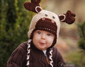 Baby Moose Beanie Hat-- 6-9 Months-Earflapped with Braid ties