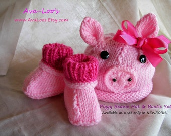 Piggy Beanie Hat and Bootie Set- Newborn Only