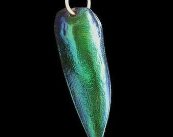 Jewel Beetle Wing Pendant