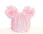 SHOP WIDE SALE--EVERYTHING JUST 5.99----Hand Knit Double Pom Pom Baby Hat--0-3 months