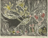 Paleo-Rudolph Yule Card -- woodblock