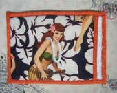 Kitschy Retro Pin-Up Hawaii Girl Potholder with Hand Pocket