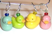 Stitch Markers - Glow Duckies - Duck Stitch Markers ///  for knitting needles / crochet Rubber Ducky