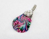 COTTON CANDY  Swirl Vortex Wire Wrap Polymer Clay Bead Pendant with Necklace