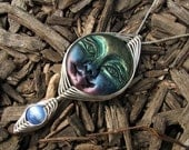 ON SALE - Handcrafted Wire Wrap Polymer Clay Moon Goddess Bead Pendant