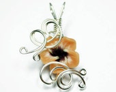 Made to Order - Design 08 - Aromatherapy Wire Wrapped  Polymer Clay Tropical Flower Bead PERFUME Pendant