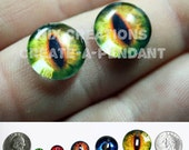 10mm Evil Yellow Green Dragon Handmade Glass Taxidermy Eyes Cabochons for Steampunk Jewelry and Pendant  Making