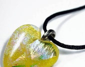 Valentines Day LARGE Yellow Rainbow Dichroic Art Glass Heart Pendant with Necklace
