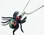 Beaded Spider Wire Wrapped  Polymer Clay Butterfly Floral Beads Pendant