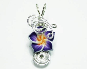 Made to Order - Design 06 - Aromatherapy Wire Wrapped  Polymer Clay Tropical Flower Bead PERFUME Pendant