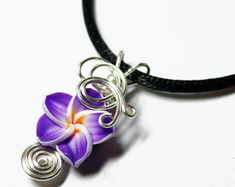 Perfume Pendant - PREMADE - Aromatherapy Wire Wrapped Purple Violet Polymer Clay Tropical Plumeria Flower