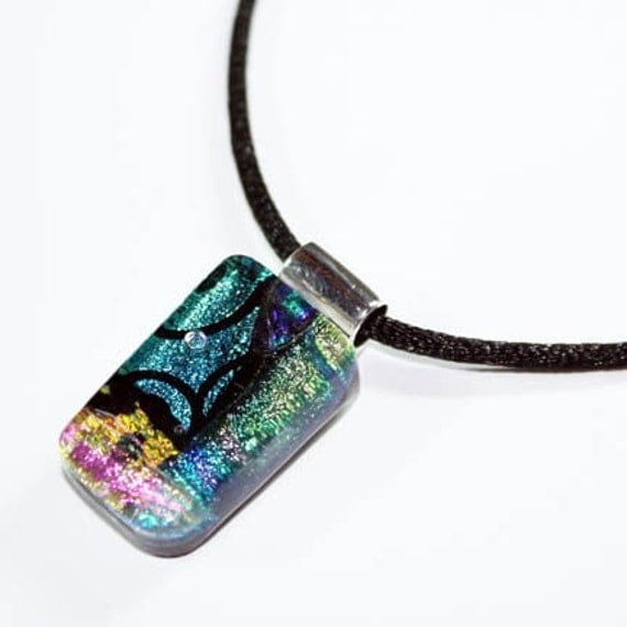 ON SALE - Sea Breeze - Fused Dichroic Art Glass Slide Pendant with Necklace