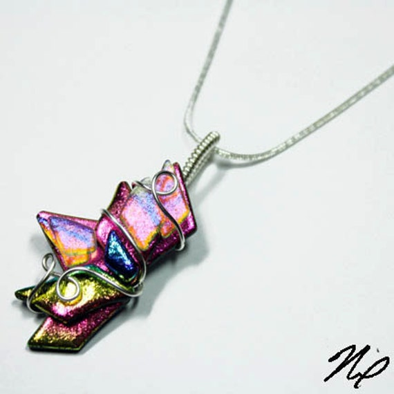 Abstract Wire Wrap Fused Dichroic Rainbow Glass Pendant 4