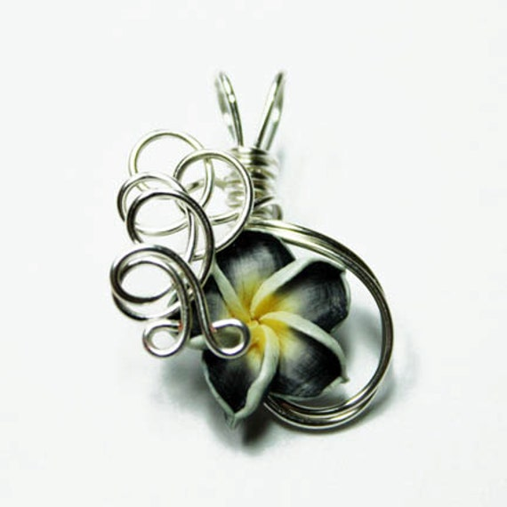 Made to Order - Design 05 - Aromatherapy Wire Wrapped  Polymer Clay Tropical Flower Bead PERFUME Pendant