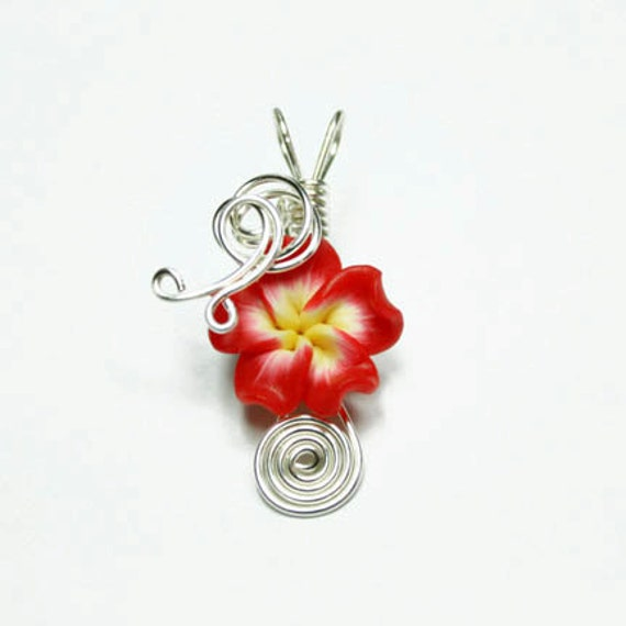 Made to Order - Design 07 - Aromatherapy Wire Wrapped  Polymer Clay Tropical Flower Bead PERFUME Pendant