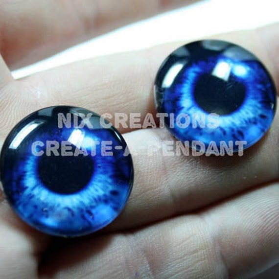 1 Set of Deep Blue Mermaid Human Doll Taxidermy Eyes Handmade 24mm 1 inch Glass Cabochons for Steampunk Jewelry and Pendant Making
