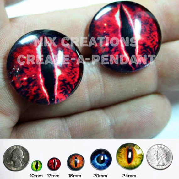 24mm 1 inch Red Evil Dragon Glass Eyes Handmade Glass Taxidermy Doll Eyes Cabochons for Steamunk Jewelry and Pendant Making