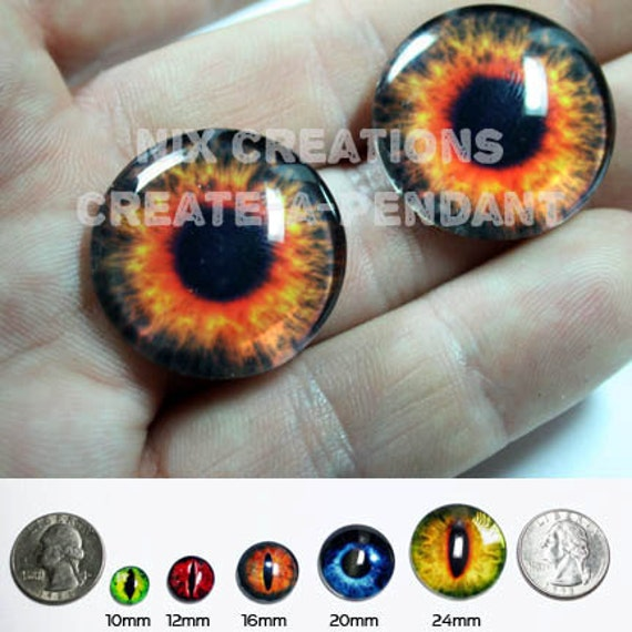 16mm Fire Glass Eyes Handmade Glass Taxidermy Doll Eyes Cabochons for Steampunk Jewelry and Pendant Making