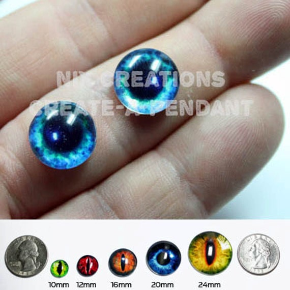 10mm Bright Blue Eyes Handmade Glass Taxidermy Doll Eyes Cabochons for Steampunk Jewelry and Pendant Making