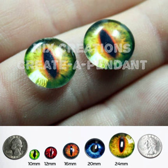 Glass Eyes - 10mm - Evil Yellow Green Dragon Handmade Glass Taxidermy Eyes Cabochons for Steampunk Jewelry and Pendant  Making