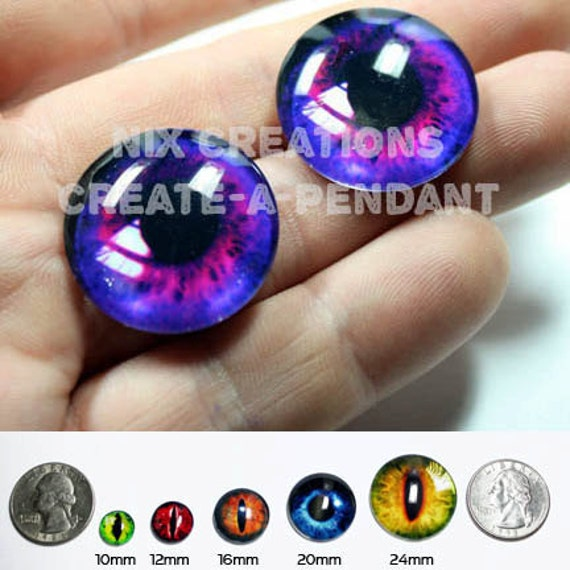 16mm Handmade Glass Purple Human Doll Taxidermy Eyes Cabochons for Steampunk Jewelry and Pendant Making