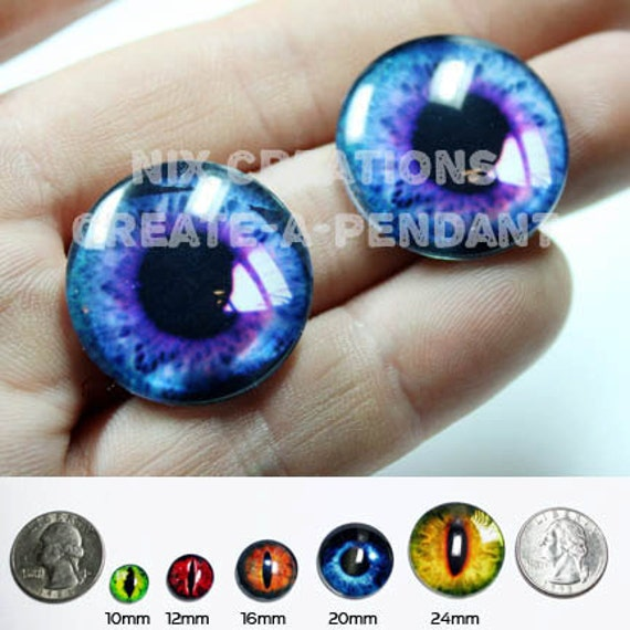 16mm Purple / Blue Human Doll Taxidermy Eyes Handmade Glass Cabochons for Steampunk Jewelry and Pendant Making