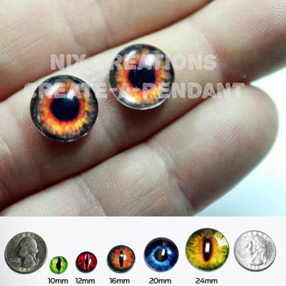12mm Fire Eyes Handmade Glass Taxidermy Doll Eyes Cabochons for Steampunk Jewelry and Pendant Making