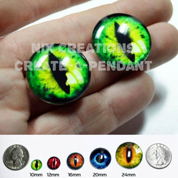 16mm Green Dragon Glass Eyes Glass Taxidermy Doll Eyes Cabochons for Steampunk Jewelry and Pendant Making
