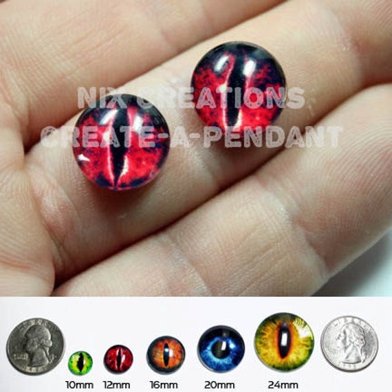 12mm Evil Red Dragon Handmade Glass Taxidermy Pullip Doll Eyes Chips Cabochons for Steampunk Jewelry and Pendant Making