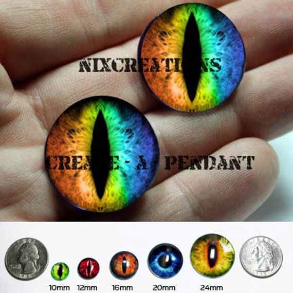 16mm Rainbow Dragon Glass Taxidermy Doll Eyes Cabochons for Steampunk Jewelry and Pendant Making