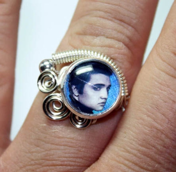 Adjustable  Wire Wrap Swirl Elvis Presley Ring