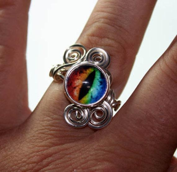 Adjustable Steampunk Wire Wrap Taxidermy Evil Rainbow Dragon Eye Ring