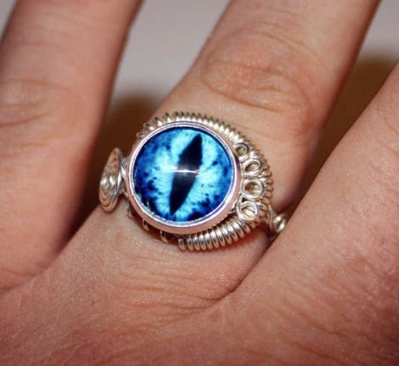 Adjustable Steampunk Wire Wrap Taxidermy Turquoise Blue Evil Dragon Eye Ring