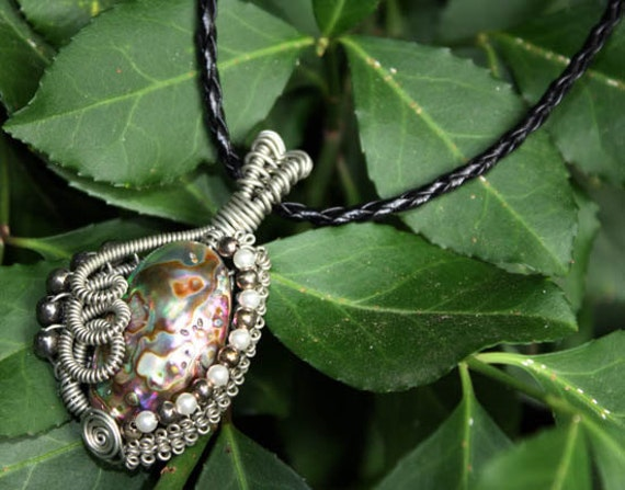Wire Wrap Mermaid Queen Paua Abalone Shell Pendant with Leather Necklace